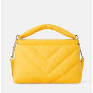 Zara yellow quilted maxi crossbody bag